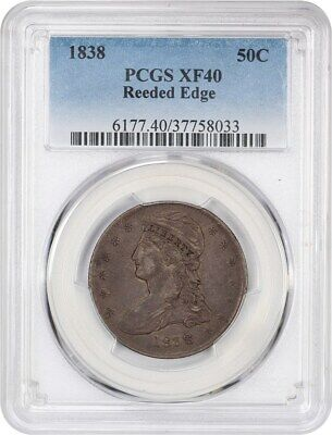 1838 50c PCGS XF40 (Reeded Edge) Great Type Coin - Bust Half Dollar