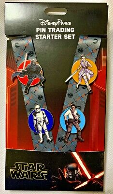 Disney Parks STAR WARS Rise of Skywalker Pin Trading Starter Set Lanyard 4 pins
