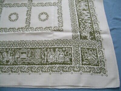 Vtg Heavy Linen Tablecloth Traditional Ethnic Wedding Design Horses Bride Groom