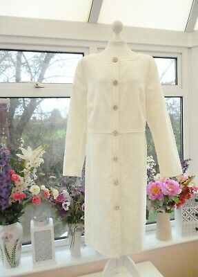 *MONSOON* IVORY JACQUARD BRIDAL COAT WITH FAUX PEARL & DIAMANTE BUTTONS Sz 20