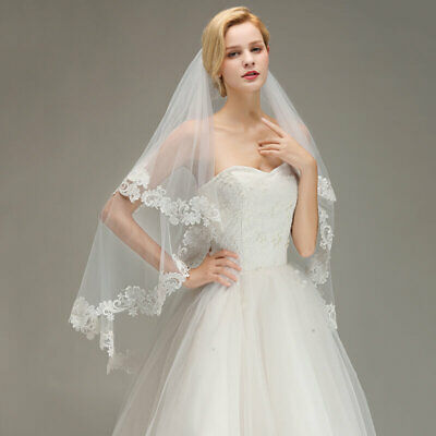 2T Women's White Lace Tulle Bridal Wedding Veils w/ Lace Edge With Comb US Stock