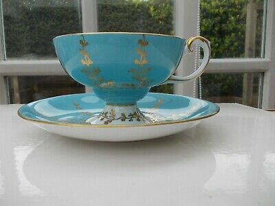 Aynsley Pedestal Baby Blue Gold Tea Cup and Saucer Ref 2878