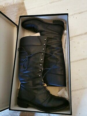 Hobbs Size 5 Ladies Lace Up Knee High Black Leather Riding Style Boots