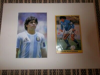 Diego Maradona, Footballer, ORIGINAL SIGNED card matted with  Photo