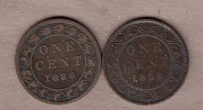 L@@K Dealer Lot 1882H & 1886 Canadian Large Cents ~ Very-Good Condition!
