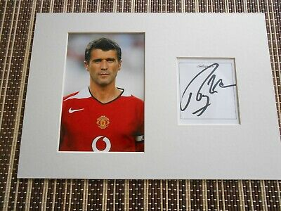 Roy Keane,Ex Footballer, ORIGINAL SIGNED, card matted with photo