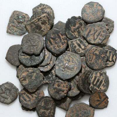 Top Lot Of 40 Uncertain Byzantine And Arab Byzantine Bronze Coins-Partial Cleans