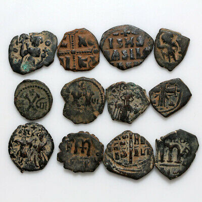Top Lot Of 12 Uncertain Byzantine And Arab Byzantine Bronze Coins-Partial Cleans