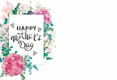 50 Florist Message Cards - Happy Mother's Day - Pink & Blue Flowers