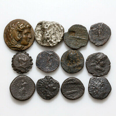 Stunning Lot Of 12 Ancient Greek Bronze And Silver Coins Circa 500 To 100 Bc