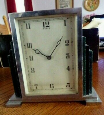 Art Deco Chrome & Lucite 8 Day Mantel Clock, Spares/Repair