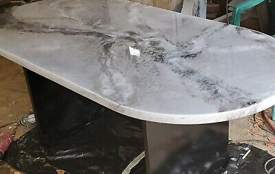 Gorgeous imitation marble dining or conference table black white  6x3'