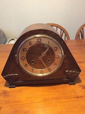 Vintage Wooden Mantle Clock And Quartz Ships Wheel Wall Clock Plus Spares