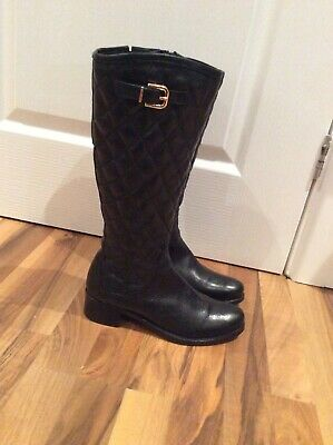 Riva Ladies Black Quilted Knee High Winter Boots Size 4