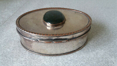 Antique French ? Silver Plated Trinket Pot  / Snuff Box - Green Inlaid Stone-