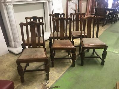 6 Really Nice Belgium Oak Tudor Sturdy Dining Room Chairs With Leather Seats