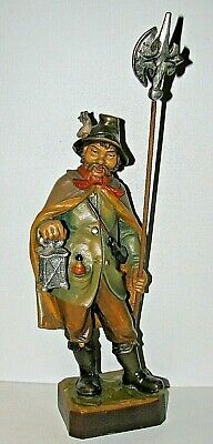 LG Lang Oberammergau Passion German Wood Carving Man / Lantern & Halberd 14""