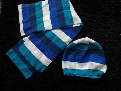 George Matching Blue / White Striped Beanie Hat and Scarf (Age 8-12 yrs)