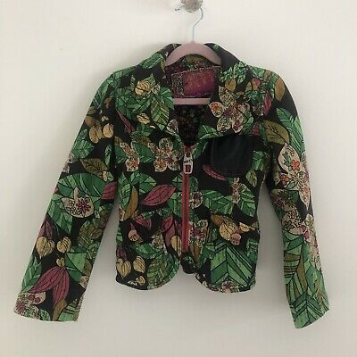 Miss Sixty Kids Girls Multi-Print Jacket Coat Leather Pocket Age UK 6 Years