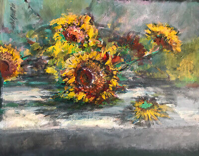 Sunflowers 11x16 In.Acrylic on panel  Hall Groat Sr.