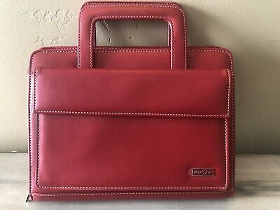 Franklin Covey Day One Red Organizer Planner Zipper Handles Simulated Leather