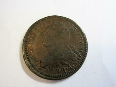 ANTIQUE FRENCH KING LOUIS XVI BRONZE 2 Sols COIN dated 1791 - Good Grade!