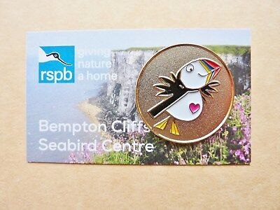 Rspb Pin Badge Bempton Cliffs  Seabird Centre Puffin Gold Badge Roundel