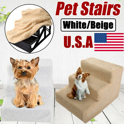 3 Steps Portable Pet Soft Plush Ladder Dog Cat Stairs Ramp Washable Home