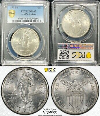 1908-S US/Philippines Peso ~ PCGS MS62 ~ Allen#17.03 ~ Bright and Lustrous