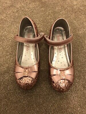 Girls Size 2 Pink Glitter Heeled Party Shoes - Excellent Condition