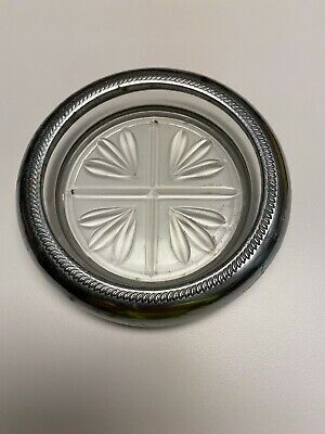 "Vintage Round 4"" Glass Crystal Cavalier Silver Rim Coasters/Ashtrays"