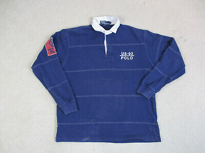 VINTAGE Ralph Lauren Polo Shirt Adult Medium Blue White RL-93 Rugby Mens 90s*