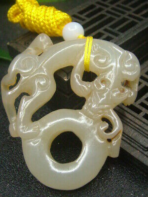 Antique Chinese Celadon Nephrite Hetain Whi-Jade Hollow -Dragon Pendant/Statues