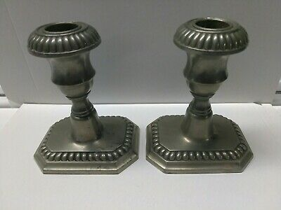 VINTAGE Pair Of Candlestick Candle Holders POOLE PEWTER MANTLE TABLE DECOR