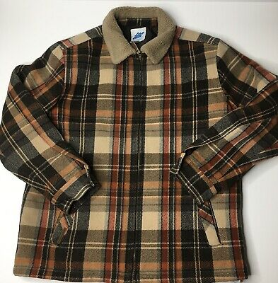 Eastern Mountain Sports Vintage Plaid Mens Wool Blend Coat