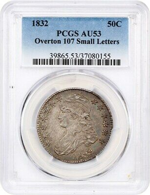 1832 50c PCGS AU53 (Overton 107, Small Letters) Bust Half Dollar