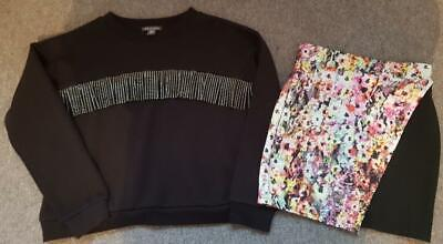 Gorgeous 2 Piece Outfit, Floral Skirt/Fringed Sweatshirt Top 11/12 Years, 116Cm