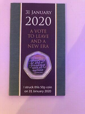 Strike Your Own 2020 Brexit 50p 31st January Dated Packaging SYO, in hand