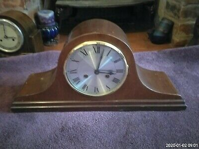 mantle clock 1930s mahogany cased with pendulum and key
