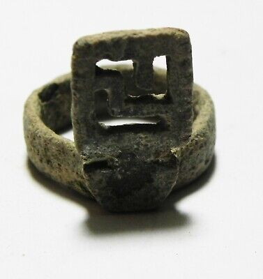 "ZURQIEH -as16631- ANCIENT ROMAN BRONZE ""KEY"" RING . 200 - 300 A.D"