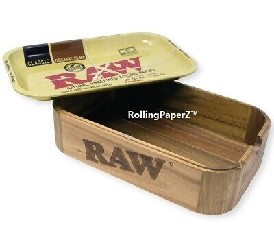 """RAW Rolling Paper Wood """"CACHE"""" STORAGE BOX 11x7 Metal Tray Top Included LIMITED"""