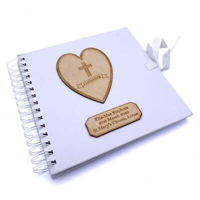 Personalised White Christening Day Guest Book With Wooden Engraving
