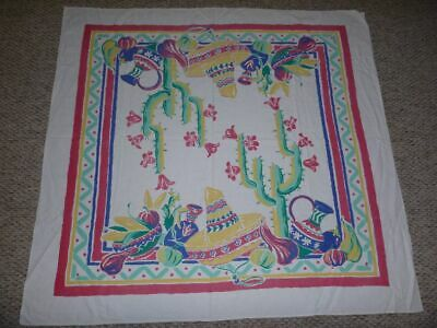 "Vintage Sombrero Tablecloth 49"" X 51"" Water jugs, Gourds, Saguaro Cactus"