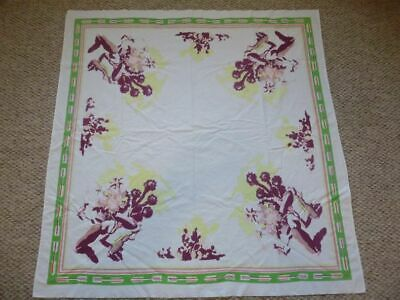 """Vintage Tablecloth Mexican carrying a basket 51"""" X 49"""" Beautiful Colors"""