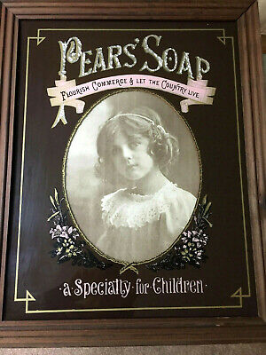 1930's Original Vintage Pears Soap Framed Advertising Chemist Sign Wall Picture
