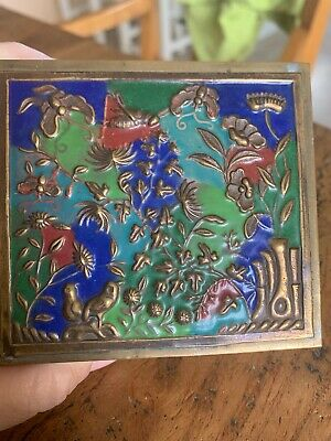 ANTIQUE CHINESE  BRASS ENAMEL CLOISONNE BOX Bird Butterfly Estate