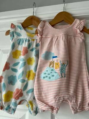 Baby Girls ~ 3/6mths  ~ M&S  ~ All in one Romper ~ Summer ~ PACK OF 2