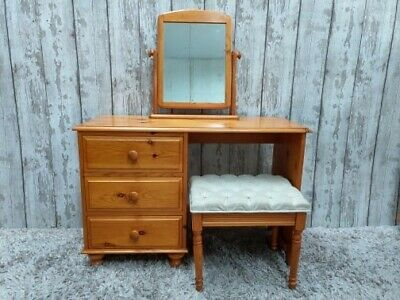 Solid Pine Dressing Table Set Mirror Stool Antique Pine Used Furniture