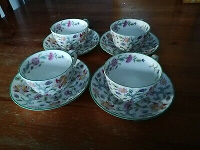 Minton Haddon Hall 4 x tea cups and saucers Green Rim (seconds)