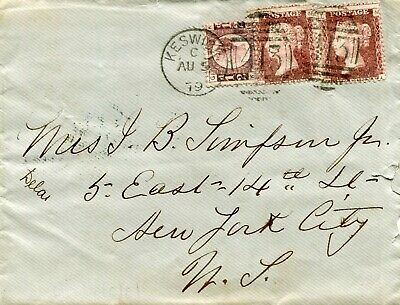 1879 - GREAT BRITAIN - COVER TO NEW YORK WITH 2 X PL198 1d RED AND ½d PLATE 15